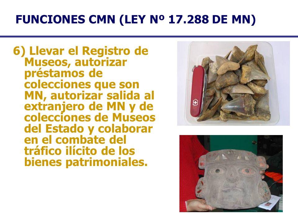 FUNCIONES CMN (LEY Nº 17.288 DE MN) 6) Llevar el Registro de Museos, autorizar préstamos de colecciones que son MN, autorizar salida al extranjero de
