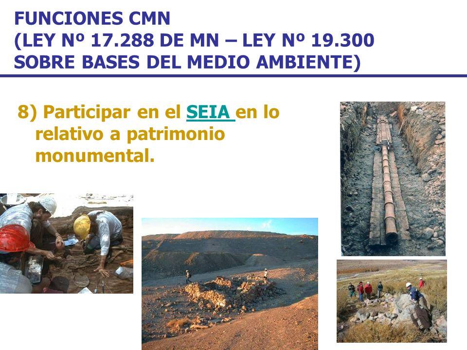 FUNCIONES CMN (LEY Nº 17.288 DE MN – LEY Nº 19.300 SOBRE BASES DEL MEDIO AMBIENTE) 8) Participar en el SEIA en lo relativo a patrimonio monumental.SEI