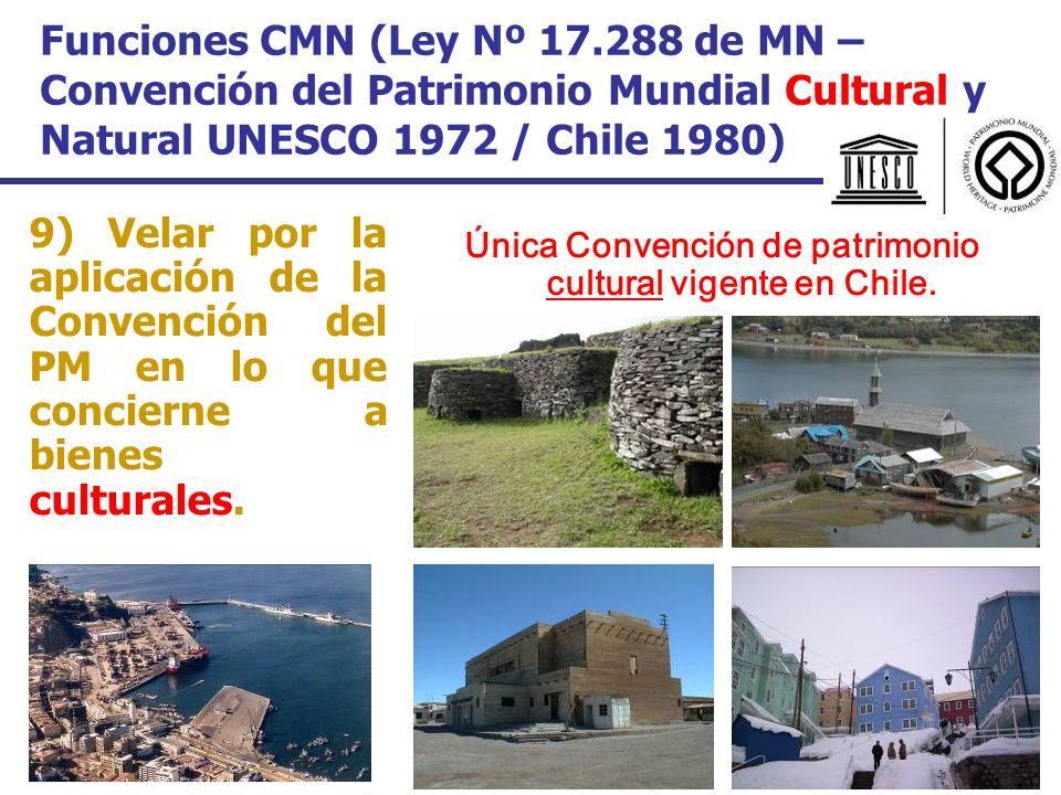 Funciones CMN (Ley Nº 17.288 de MN – Convención del Patrimonio Mundial Cultural y Natural UNESCO 1972 / Chile 1980) 9) Velar por la aplicación de la C