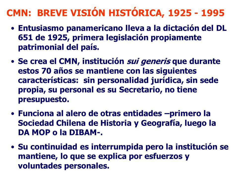 CMN: BREVE VISIÓN HISTÓRICA, 1925 - 1995 Entusiasmo panamericano lleva a la dictación del DL 651 de 1925, primera legislación propiamente patrimonial