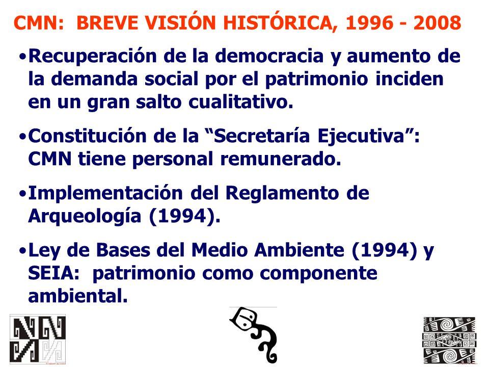 CMN: BREVE VISIÓN HISTÓRICA, 1996 - 2008 Recuperación de la democracia y aumento de la demanda social por el patrimonio inciden en un gran salto cuali