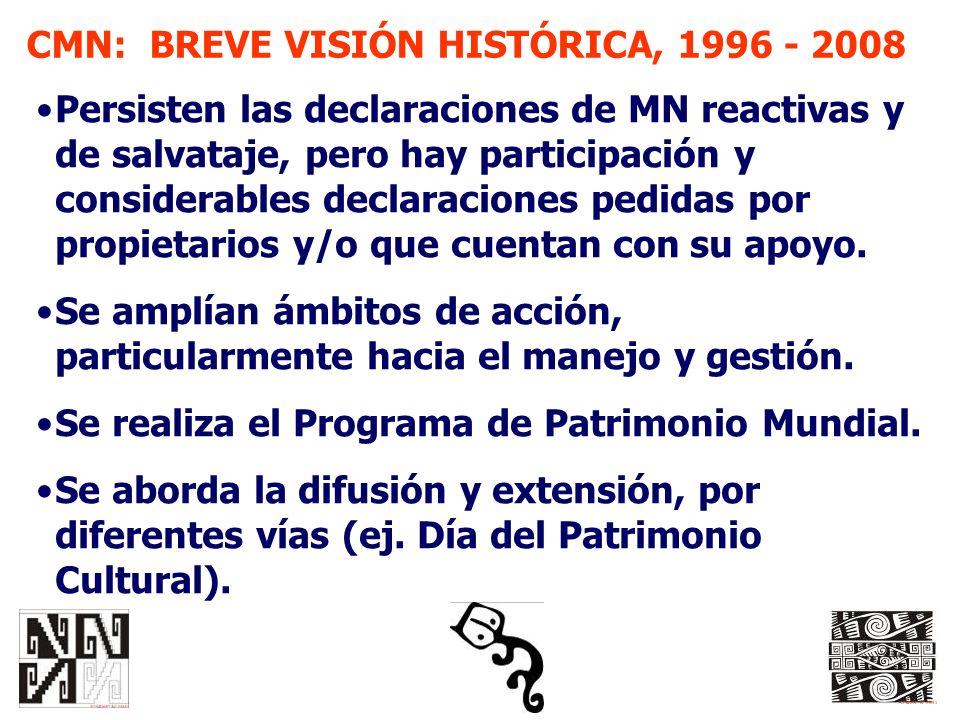 CMN: BREVE VISIÓN HISTÓRICA, 1996 - 2008 Persisten las declaraciones de MN reactivas y de salvataje, pero hay participación y considerables declaracio