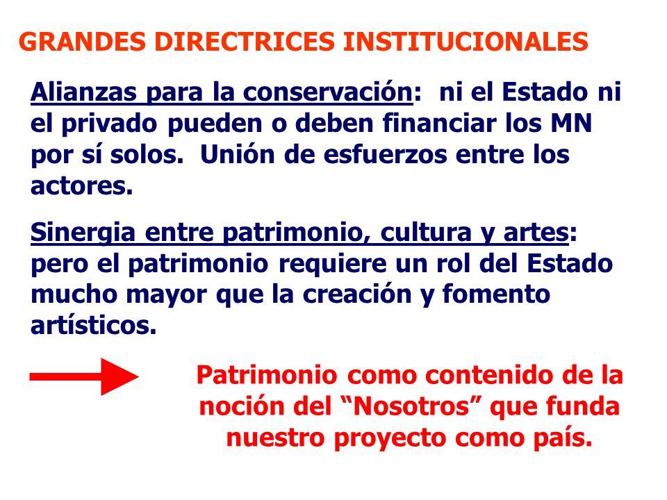 GRANDES DIRECTRICES INSTITUCIONALES Alianzas para la conservación: ni el Estado ni el privado pueden o deben financiar los MN por sí solos. Unión de e