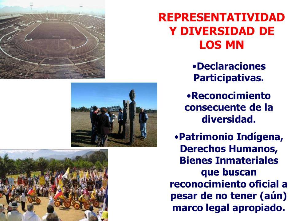 REPRESENTATIVIDAD Y DIVERSIDAD DE LOS MN Declaraciones Participativas. Reconocimiento consecuente de la diversidad. Patrimonio Indígena, Derechos Huma