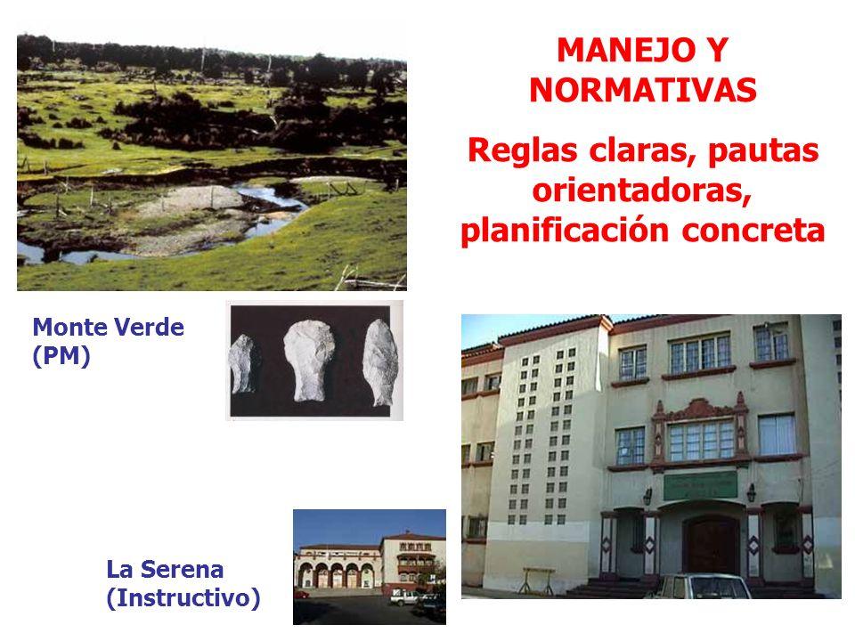 MANEJO Y NORMATIVAS Reglas claras, pautas orientadoras, planificación concreta Monte Verde (PM) La Serena (Instructivo)