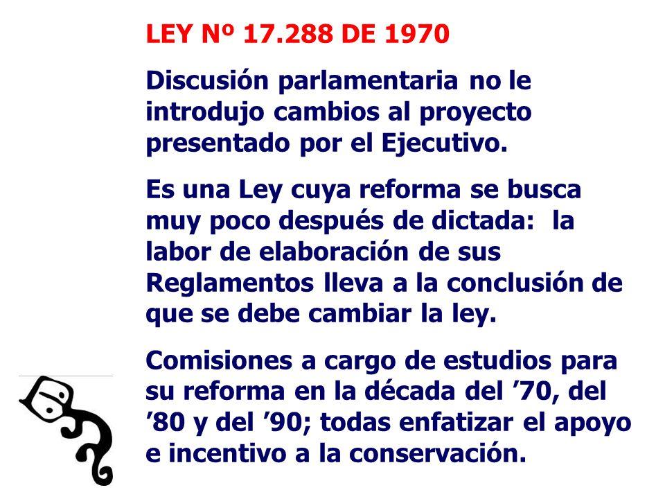 LEY Nº 17.288 DE 1970 Discusión parlamentaria no le introdujo cambios al proyecto presentado por el Ejecutivo. Es una Ley cuya reforma se busca muy po