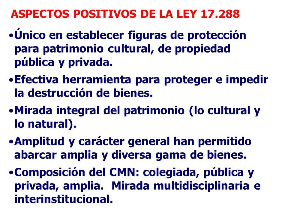 ASPECTOS POSITIVOS DE LA LEY 17.288 Único en establecer figuras de protección para patrimonio cultural, de propiedad pública y privada. Efectiva herra