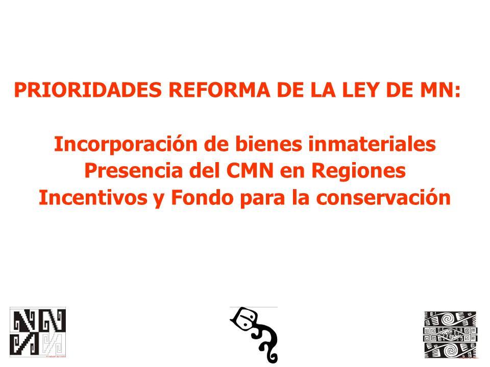 PRIORIDADES REFORMA DE LA LEY DE MN: Incorporación de bienes inmateriales Presencia del CMN en Regiones Incentivos y Fondo para la conservación