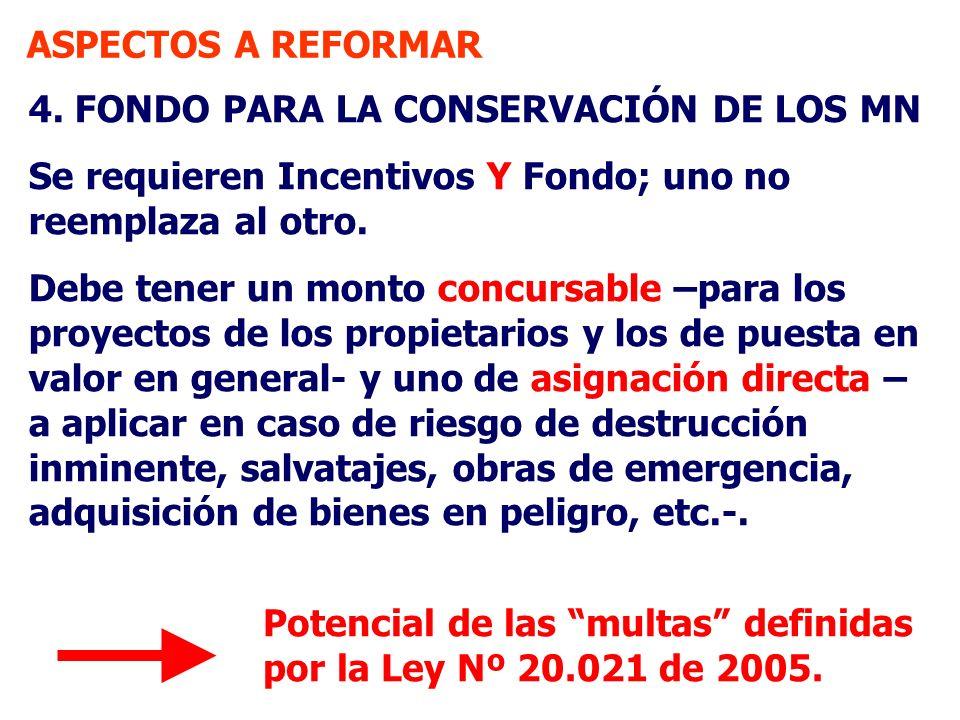 ASPECTOS A REFORMAR 4. FONDO PARA LA CONSERVACIÓN DE LOS MN Se requieren Incentivos Y Fondo; uno no reemplaza al otro. Debe tener un monto concursable