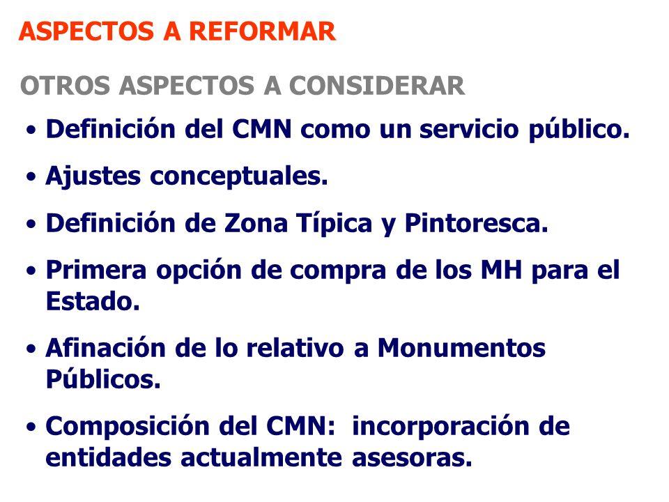 ASPECTOS A REFORMAR OTROS ASPECTOS A CONSIDERAR Definición del CMN como un servicio público. Ajustes conceptuales. Definición de Zona Típica y Pintore