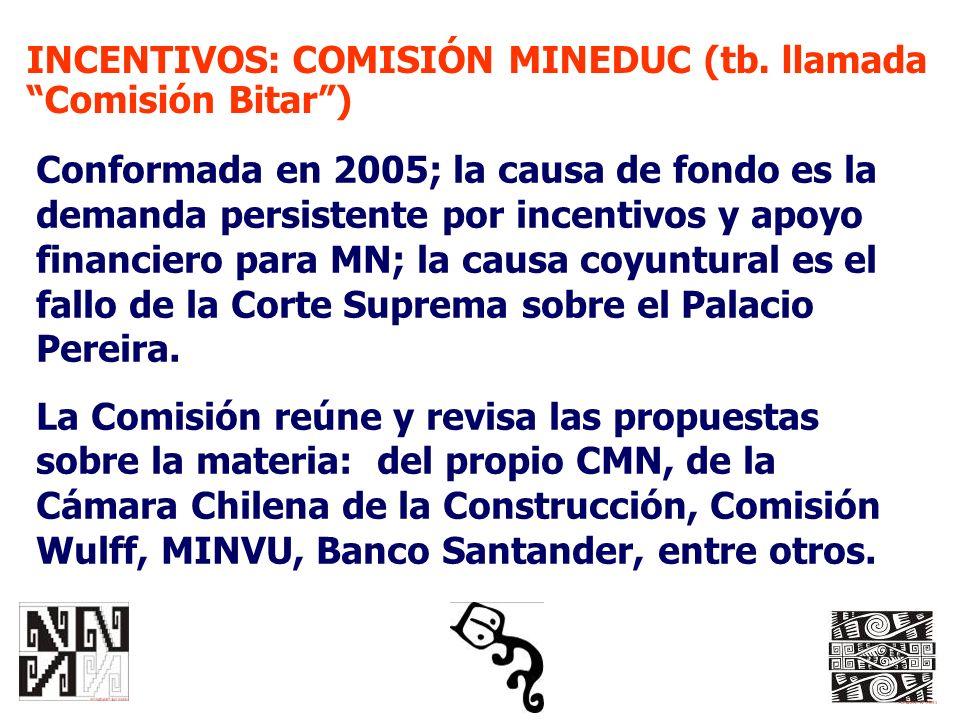 INCENTIVOS: COMISIÓN MINEDUC (tb. llamada Comisión Bitar) Conformada en 2005; la causa de fondo es la demanda persistente por incentivos y apoyo finan