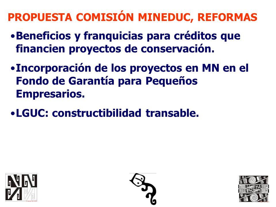 PROPUESTA COMISIÓN MINEDUC, REFORMAS Beneficios y franquicias para créditos que financien proyectos de conservación. Incorporación de los proyectos en