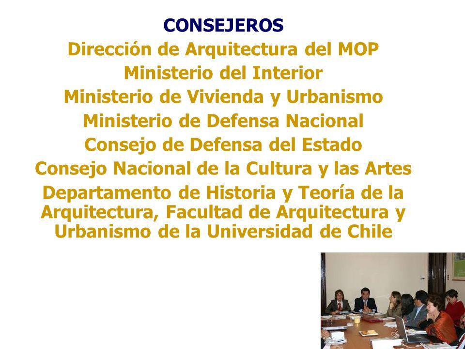 CONSEJEROS Dirección de Arquitectura del MOP Ministerio del Interior Ministerio de Vivienda y Urbanismo Ministerio de Defensa Nacional Consejo de Defe