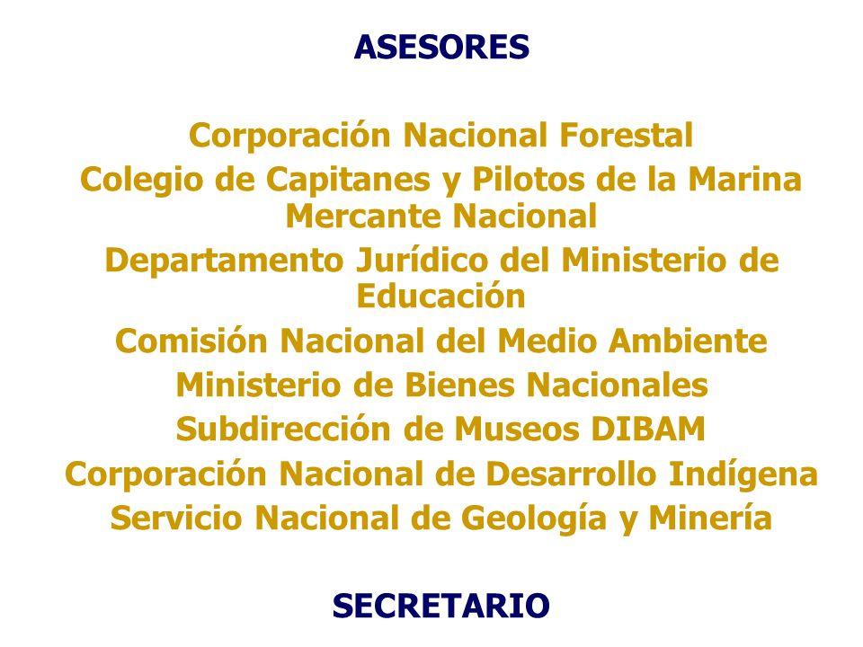 ASESORES Corporación Nacional Forestal Colegio de Capitanes y Pilotos de la Marina Mercante Nacional Departamento Jurídico del Ministerio de Educación