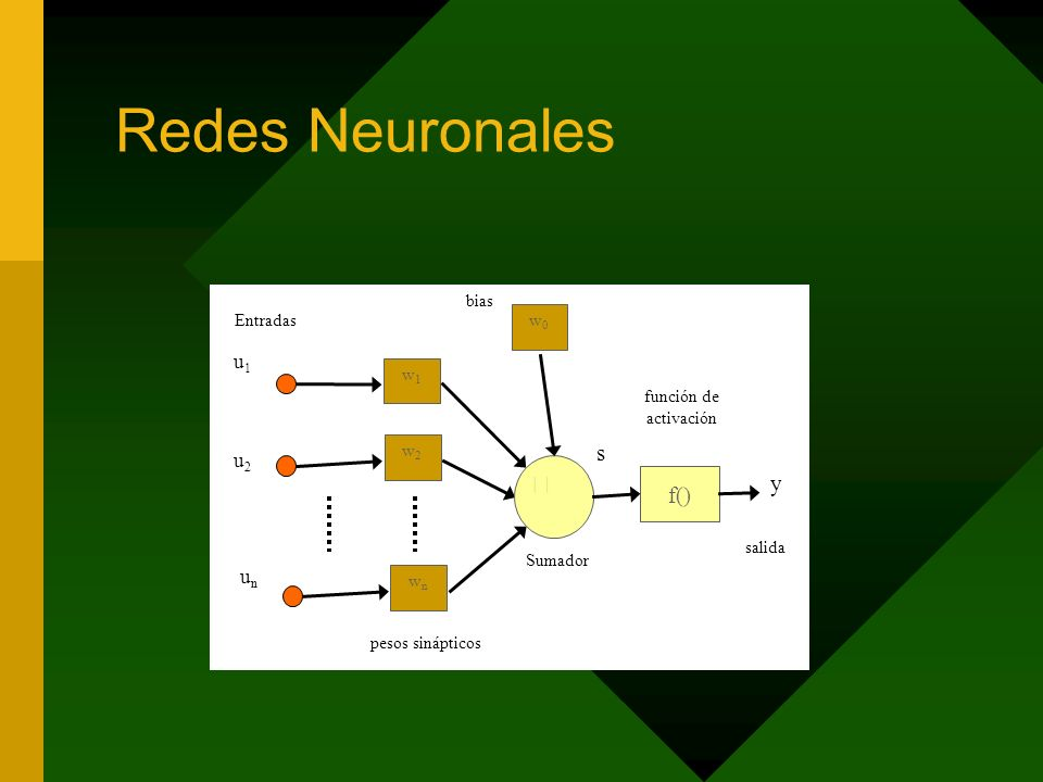 Redes Neuronales f() u1u1 u2u2 y w1w1 wnwn w2w2 unun función de activación Sumador pesos sinápticos salida Entradas w0w0 bias s