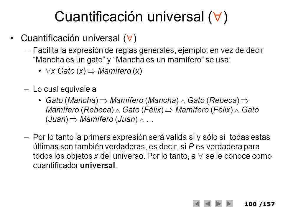 100/157 Cuantificación universal ( ) –Facilita la expresión de reglas generales, ejemplo: en vez de decir Mancha es un gato y Mancha es un mamífero se