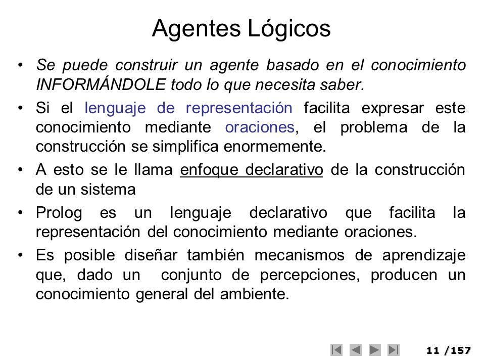 11/157 Agentes Lógicos Se puede construir un agente basado en el conocimiento INFORMÁNDOLE todo lo que necesita saber. Si el lenguaje de representació