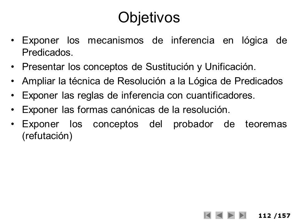 112/157 Objetivos Exponer los mecanismos de inferencia en lógica de Predicados. Presentar los conceptos de Sustitución y Unificación. Ampliar la técni