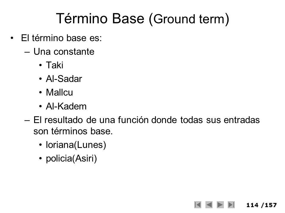 114/157 Término Base ( Ground term ) El término base es: –Una constante Taki Al-Sadar Mallcu Al-Kadem –El resultado de una función donde todas sus ent