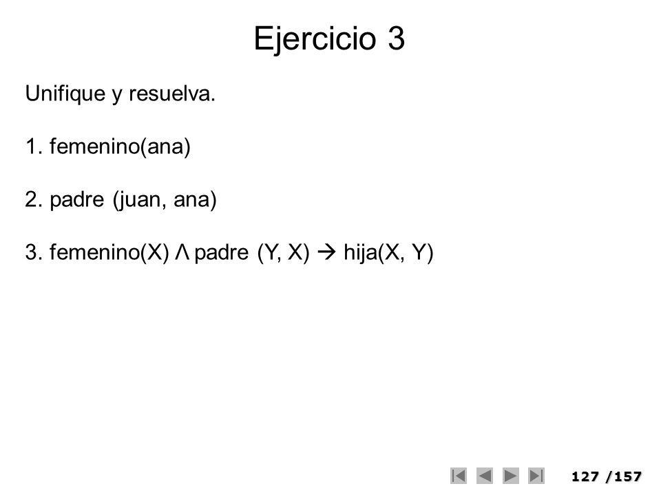 127/157 Ejercicio 3 Unifique y resuelva. 1.femenino(ana) 2.padre (juan, ana) 3.femenino(X) Λ padre (Y, X) hija(X, Y)