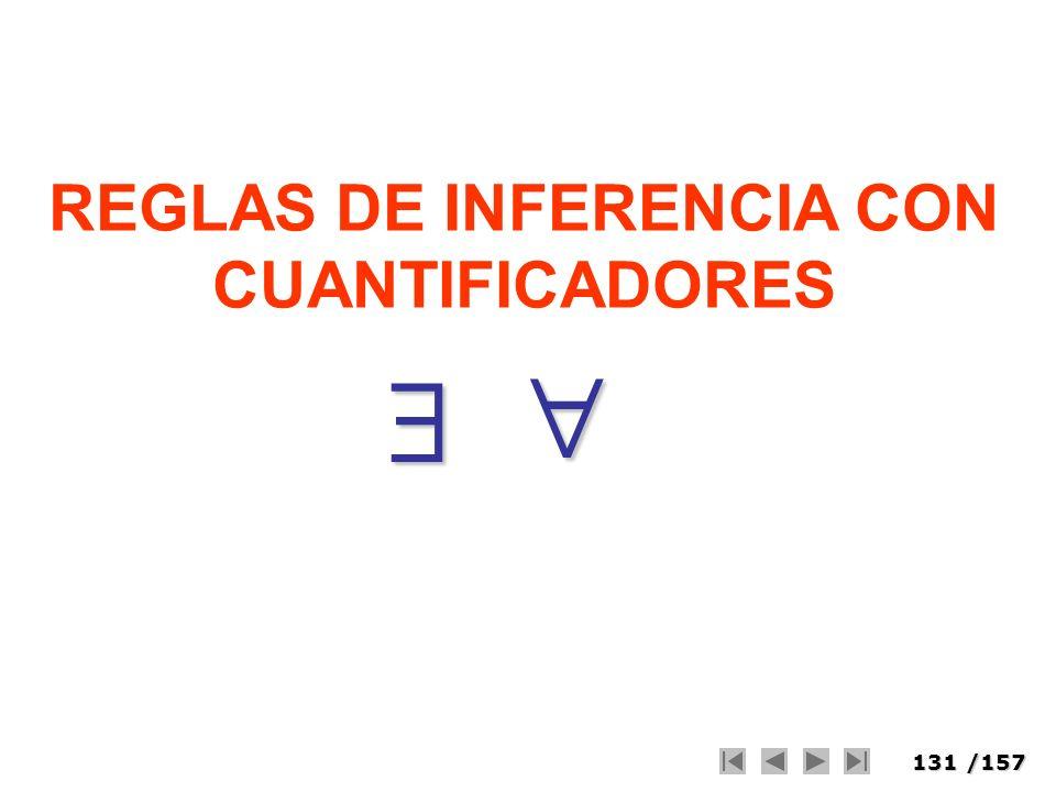131/157 REGLAS DE INFERENCIA CON CUANTIFICADORES
