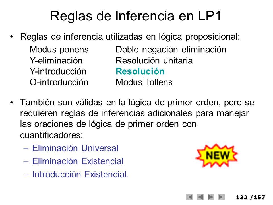 132/157 Reglas de Inferencia en LP1 Reglas de inferencia utilizadas en lógica proposicional: También son válidas en la lógica de primer orden, pero se