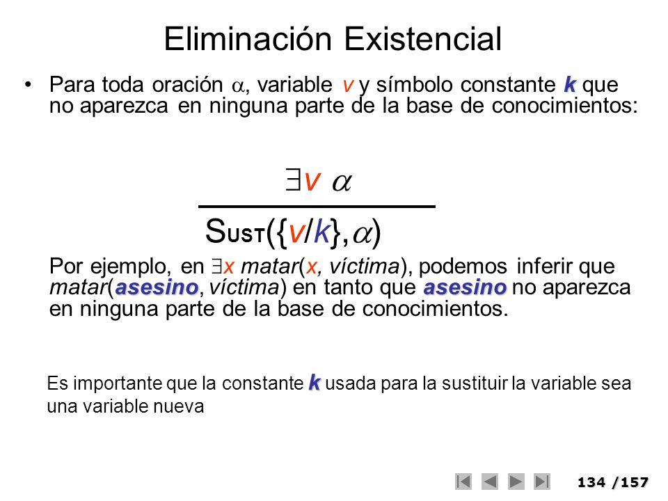 134/157 Eliminación Existencial kPara toda oración, variable v y símbolo constante k que no aparezca en ninguna parte de la base de conocimientos: ase
