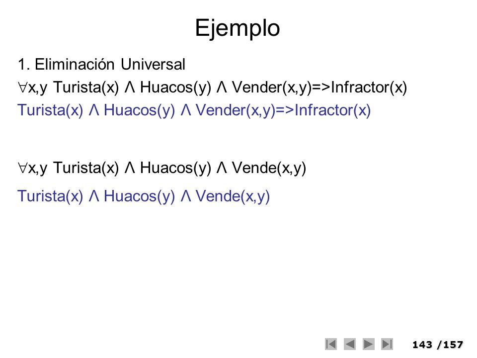 143/157 Ejemplo 1. Eliminación Universal x,y Turista(x) Λ Huacos(y) Λ Vender(x,y)=>Infractor(x) Turista(x) Λ Huacos(y) Λ Vender(x,y)=>Infractor(x) x,y