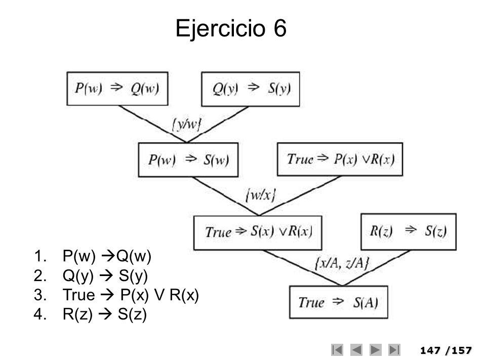 147/157 Ejercicio 6 1.P(w) Q(w) 2.Q(y) S(y) 3.True P(x) V R(x) 4.R(z) S(z)