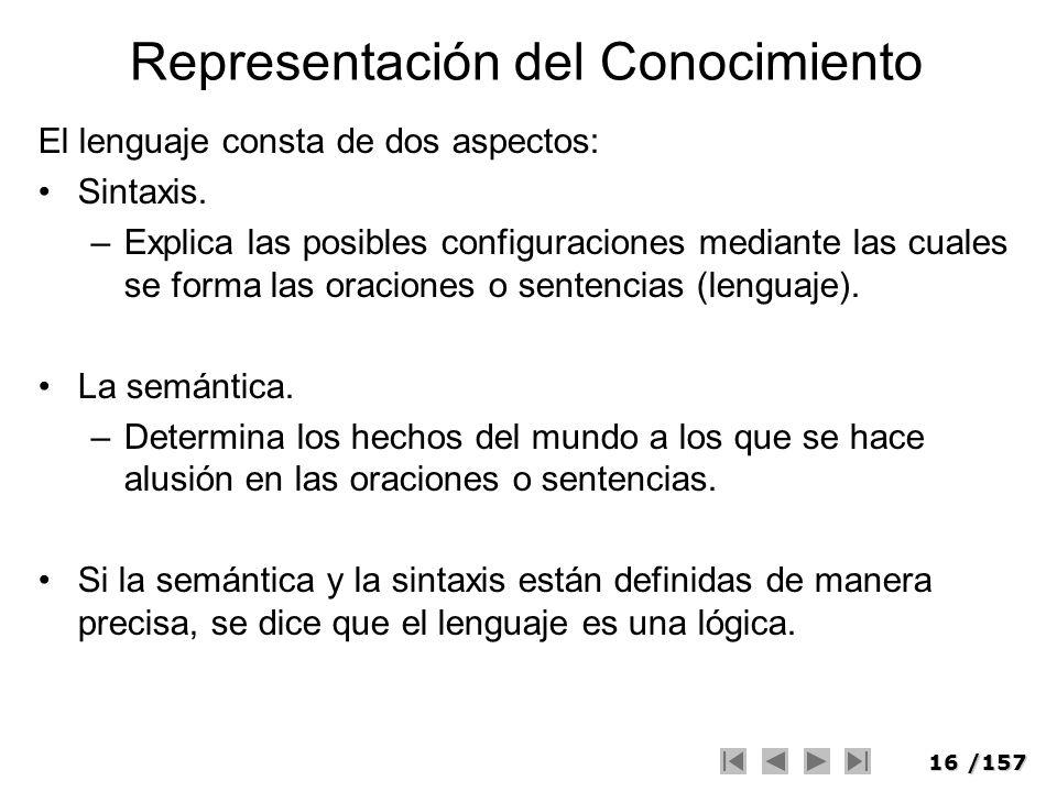 16/157 Representación del Conocimiento El lenguaje consta de dos aspectos: Sintaxis. –Explica las posibles configuraciones mediante las cuales se form