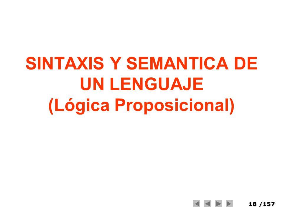 18/157 SINTAXIS Y SEMANTICA DE UN LENGUAJE (Lógica Proposicional)