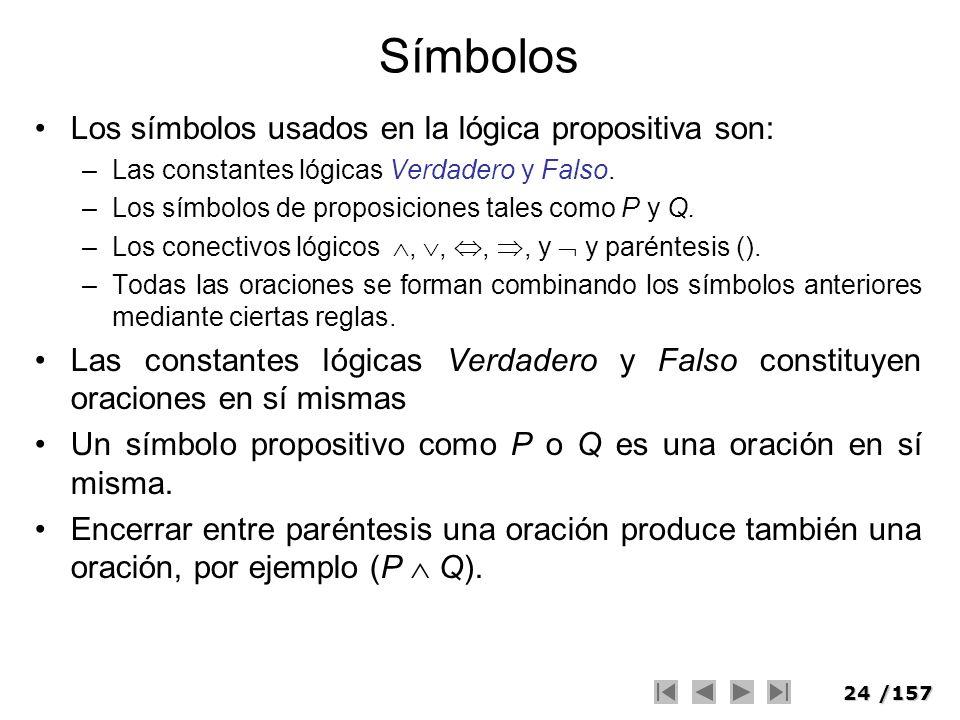 24/157 Símbolos Los símbolos usados en la lógica propositiva son: –Las constantes lógicas Verdadero y Falso. –Los símbolos de proposiciones tales como