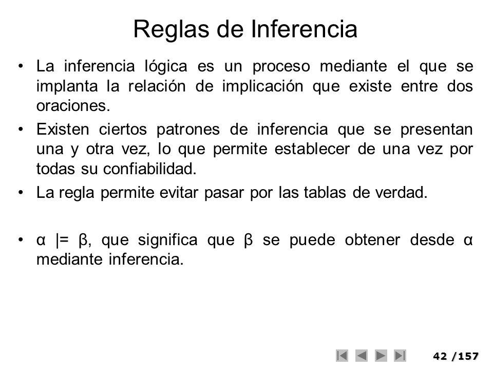 42/157 Reglas de Inferencia La inferencia lógica es un proceso mediante el que se implanta la relación de implicación que existe entre dos oraciones.