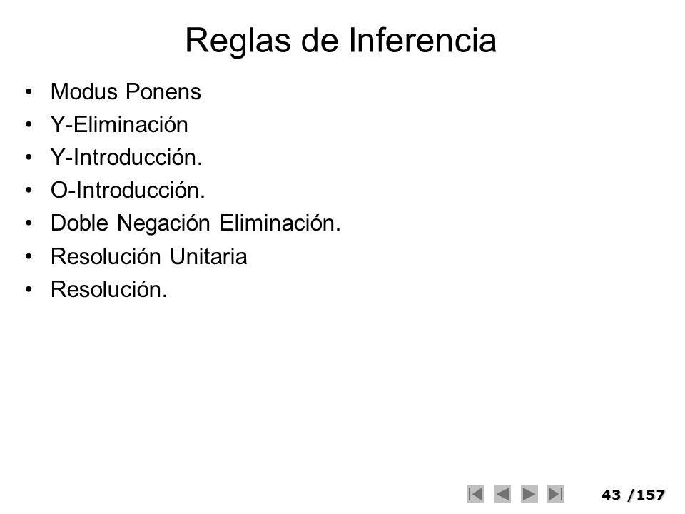 43/157 Reglas de Inferencia Modus Ponens Y-Eliminación Y-Introducción. O-Introducción. Doble Negación Eliminación. Resolución Unitaria Resolución.