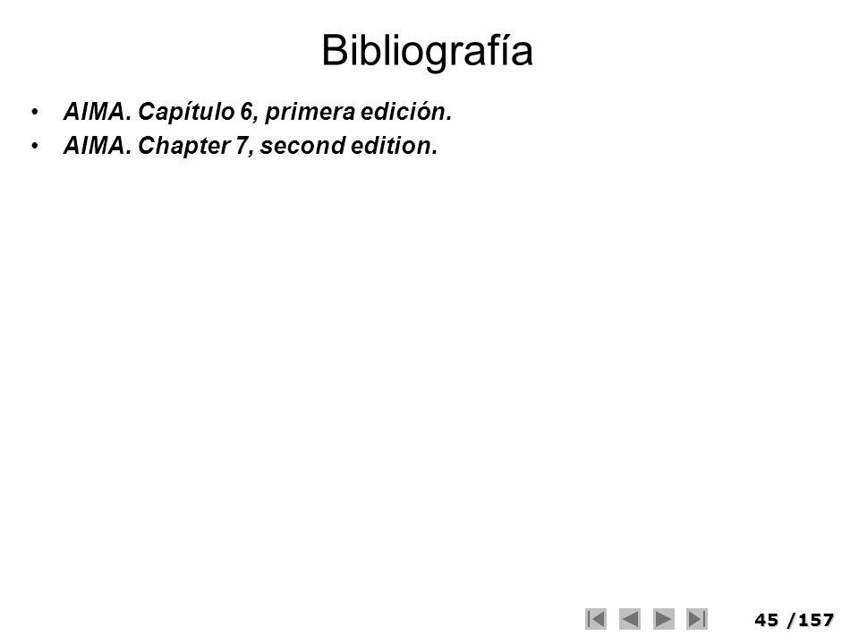 45/157 Bibliografía AIMA. Capítulo 6, primera edición. AIMA. Chapter 7, second edition.