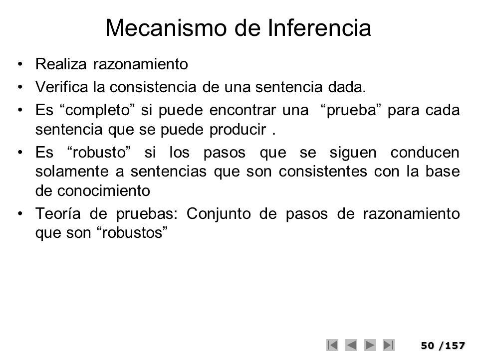 50/157 Mecanismo de Inferencia Realiza razonamiento Verifica la consistencia de una sentencia dada. Es completo si puede encontrar una prueba para cad