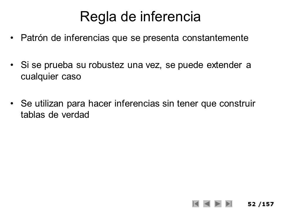 52/157 Regla de inferencia Patrón de inferencias que se presenta constantemente Si se prueba su robustez una vez, se puede extender a cualquier caso S