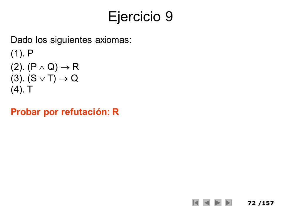 72/157 Ejercicio 9 Dado los siguientes axiomas: (1). P (2). (P Q) R (3). (S T) Q (4). T Probar por refutación: R