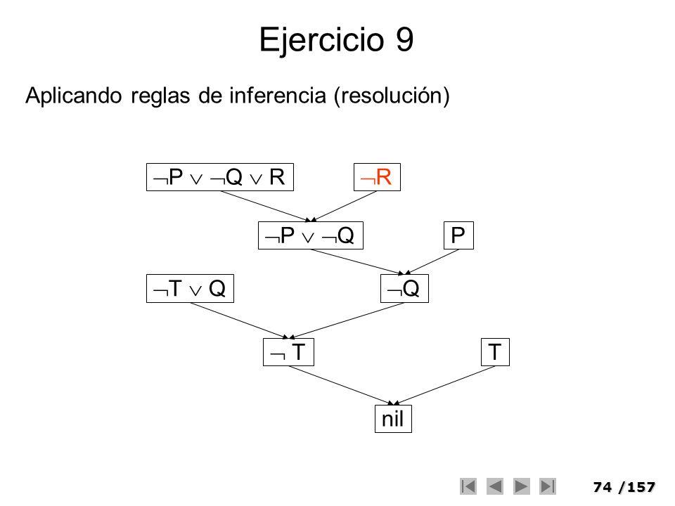 74/157 Ejercicio 9 Aplicando reglas de inferencia (resolución) P Q R R P Q T Q P Q T T nil