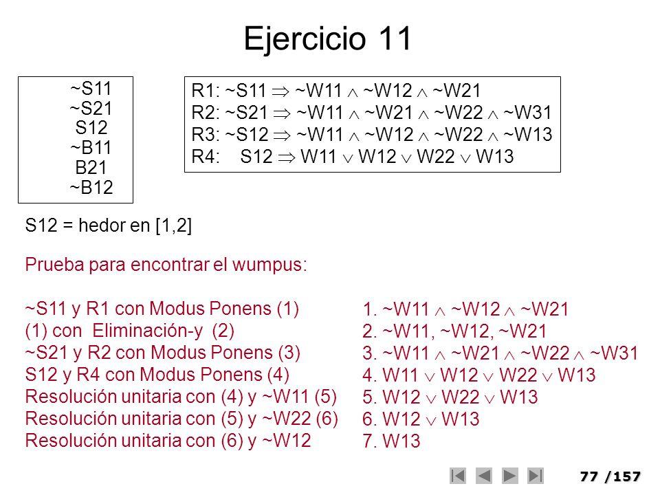 77/157 Ejercicio 11 ~S11 ~S21 S12 ~B11 B21 ~B12 R1: ~S11 ~W11 ~W12 ~W21 R2: ~S21 ~W11 ~W21 ~W22 ~W31 R3: ~S12 ~W11 ~W12 ~W22 ~W13 R4: S12 W11 W12 W22