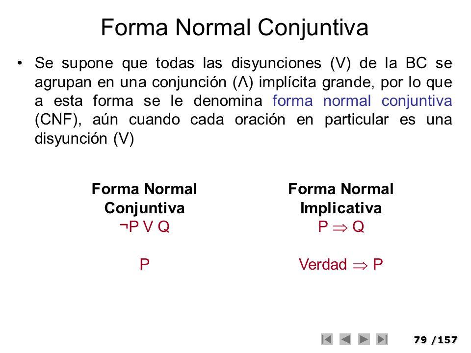 79/157 Forma Normal Conjuntiva Se supone que todas las disyunciones (V) de la BC se agrupan en una conjunción (Λ) implícita grande, por lo que a esta