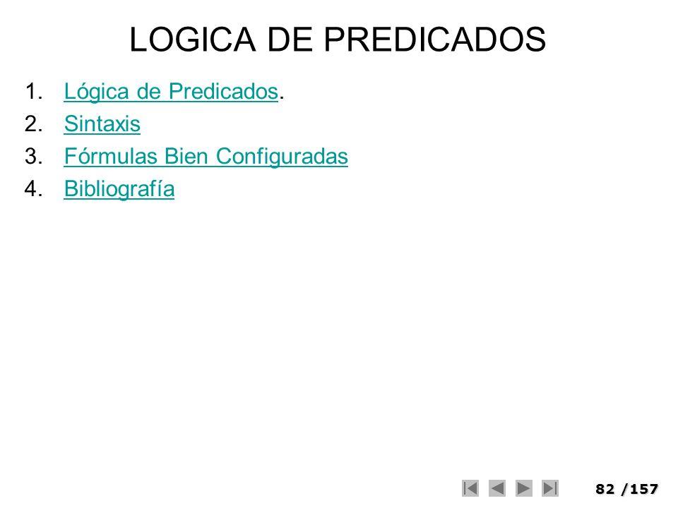 82/157 LOGICA DE PREDICADOS 1.Lógica de Predicados.Lógica de Predicados 2.SintaxisSintaxis 3.Fórmulas Bien ConfiguradasFórmulas Bien Configuradas 4.Bi