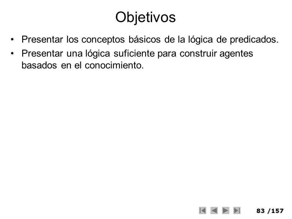 83/157 Objetivos Presentar los conceptos básicos de la lógica de predicados. Presentar una lógica suficiente para construir agentes basados en el cono