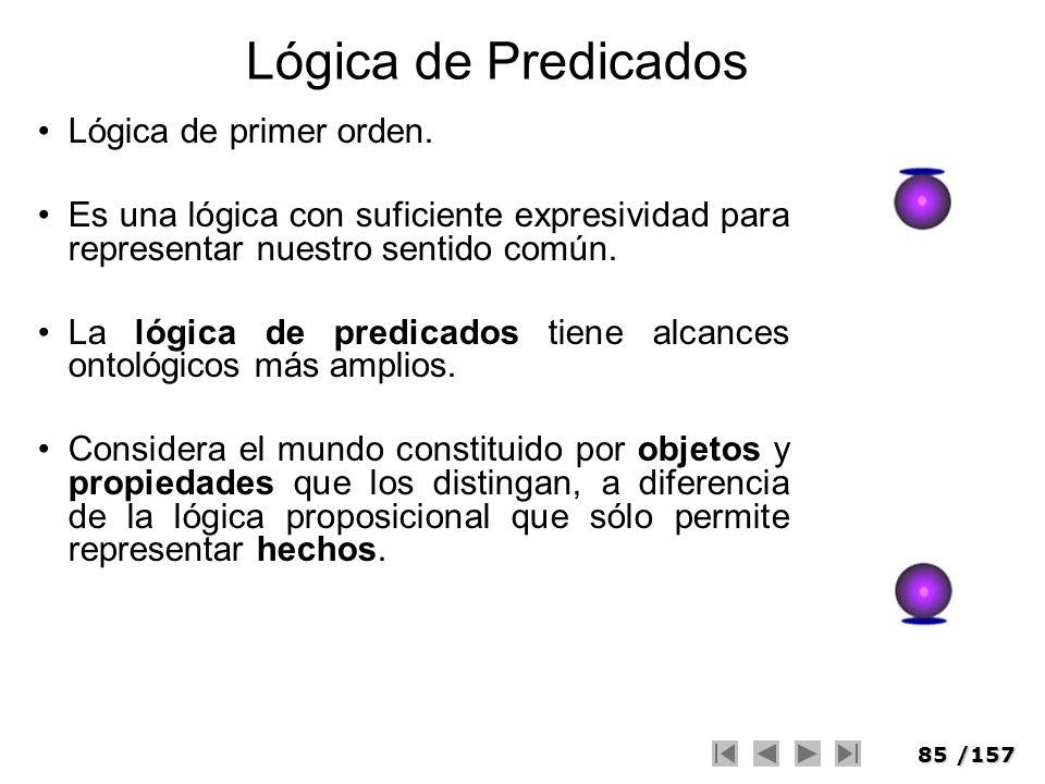 85/157 Lógica de Predicados Lógica de primer orden. Es una lógica con suficiente expresividad para representar nuestro sentido común. La lógica de pre