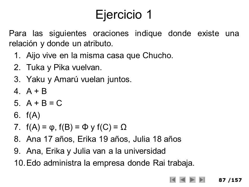 87/157 Ejercicio 1 Para las siguientes oraciones indique donde existe una relación y donde un atributo. 1.Aijo vive en la misma casa que Chucho. 2.Tuk