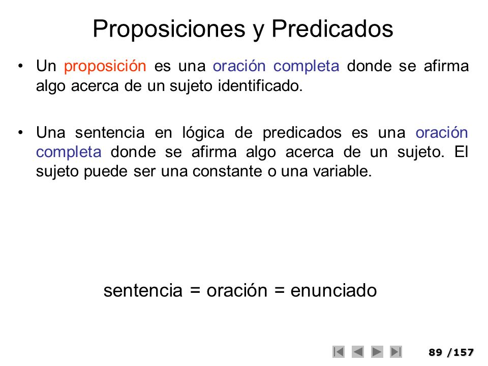 89/157 Proposiciones y Predicados Un proposición es una oración completa donde se afirma algo acerca de un sujeto identificado. Una sentencia en lógic