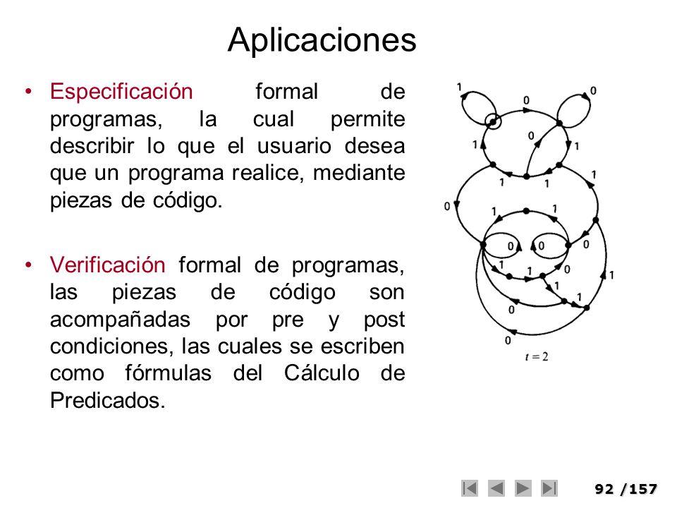 92/157 Aplicaciones Especificación formal de programas, la cual permite describir lo que el usuario desea que un programa realice, mediante piezas de