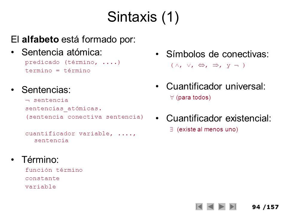 94/157 Sintaxis (1) El alfabeto está formado por: Sentencia atómica: predicado (término,....) termino = término Sentencias: sentencia sentencias_atómi