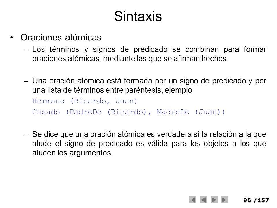 96/157 Sintaxis Oraciones atómicas –Los términos y signos de predicado se combinan para formar oraciones atómicas, mediante las que se afirman hechos.