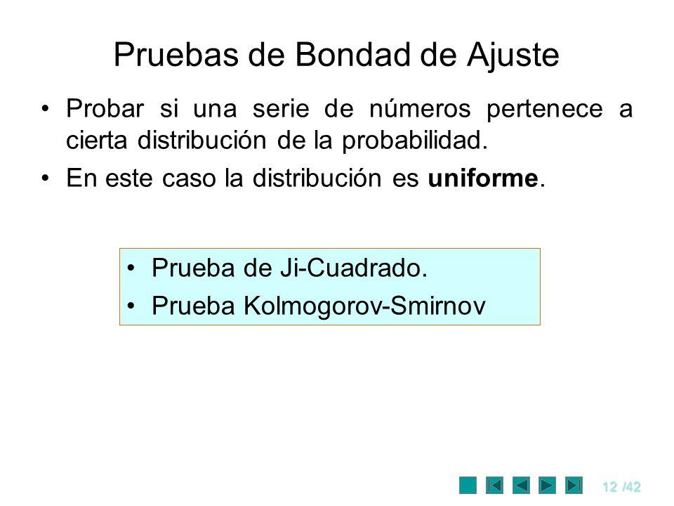 12/42 Pruebas de Bondad de Ajuste Probar si una serie de números pertenece a cierta distribución de la probabilidad. En este caso la distribución es u